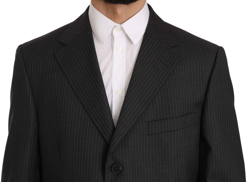 Striped Gray Two Piece 3 Button Wool Suit