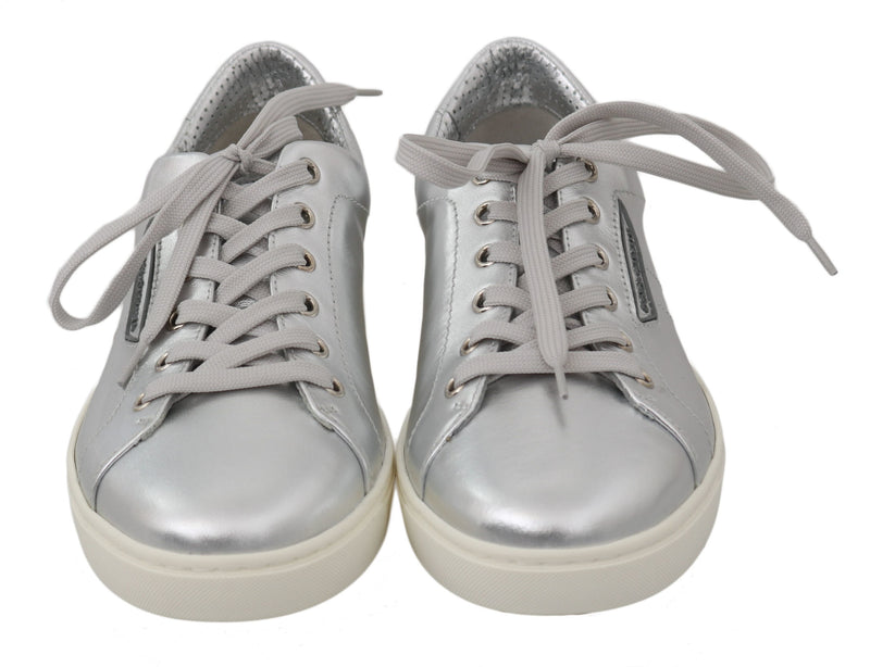 Silver Leather Mens Casual Sneakers