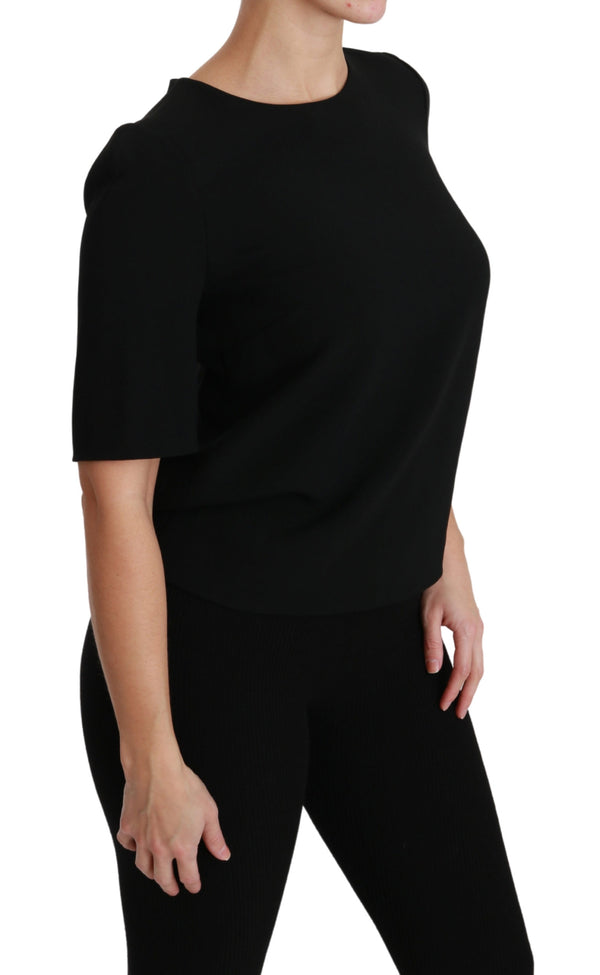 Black Short Sleeve Casual Top Stretch Blouse