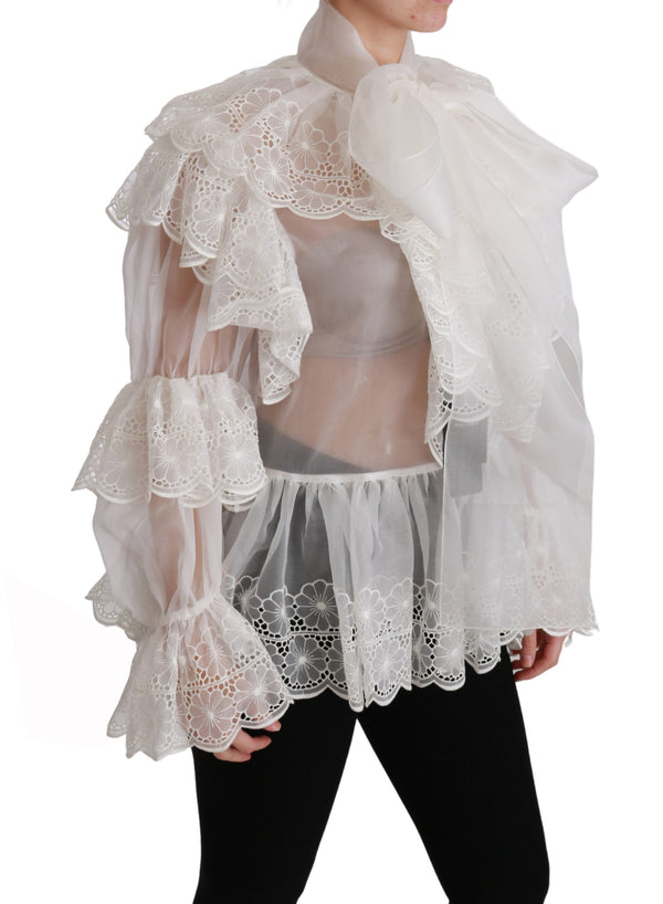 White Lace Layered Long Sleeve Blouse Silk Top