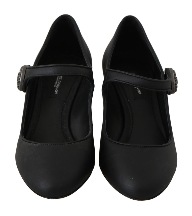 Black Leather Mary Janes Pumps Shoes