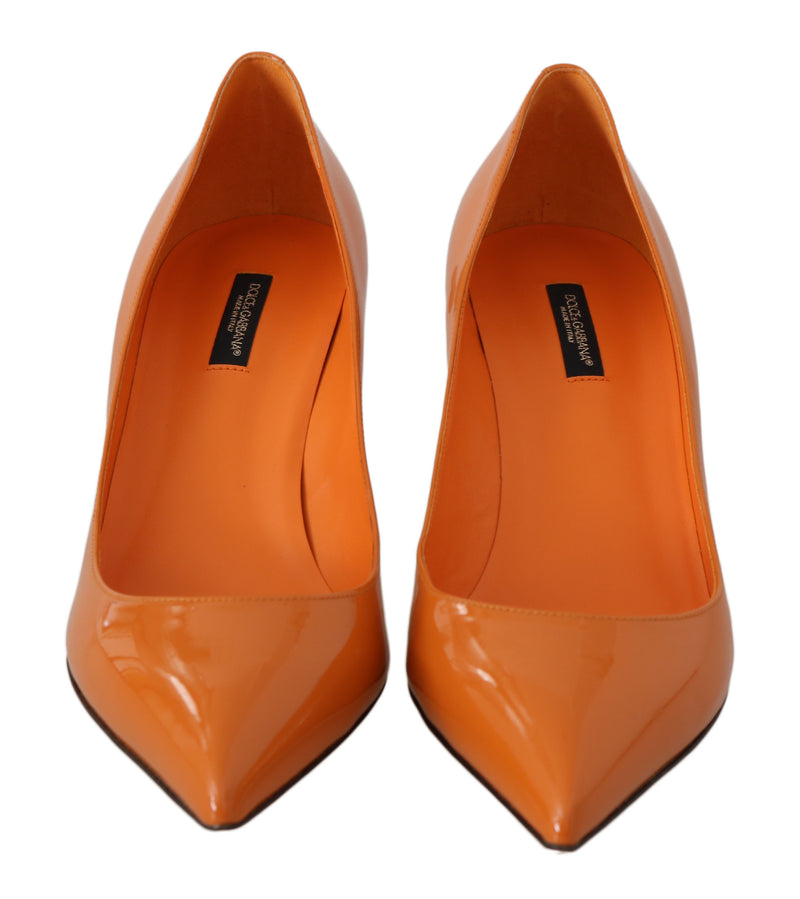 Orange Patent Leather Heels Pumps