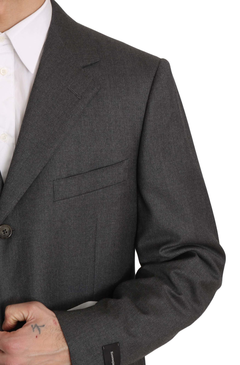 Gray Solid 2 Piece 3 Button Wool Suit