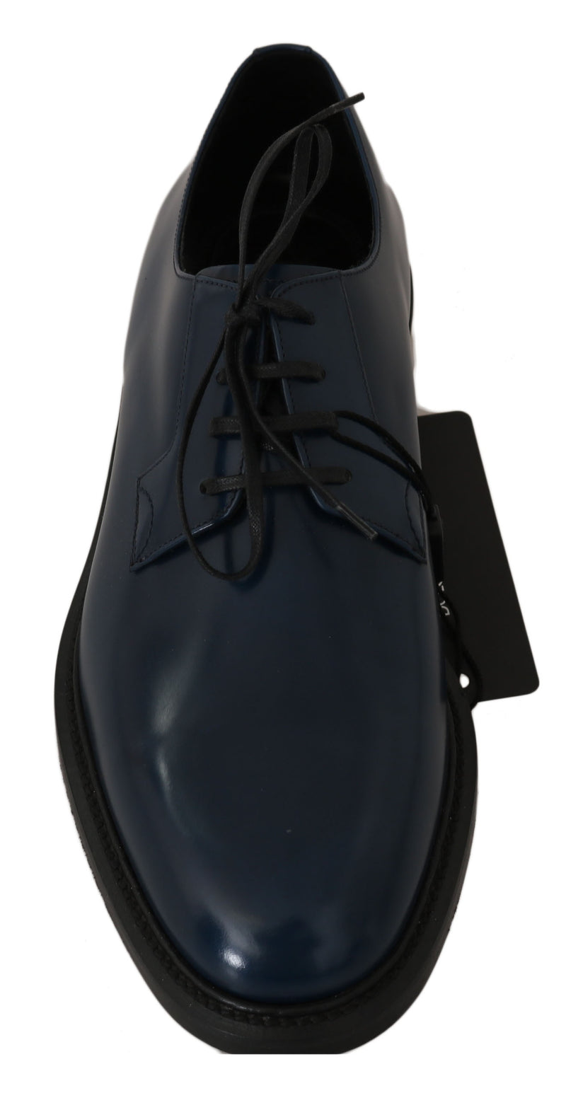 Blue Leather Marsala Derby Formal Shoes