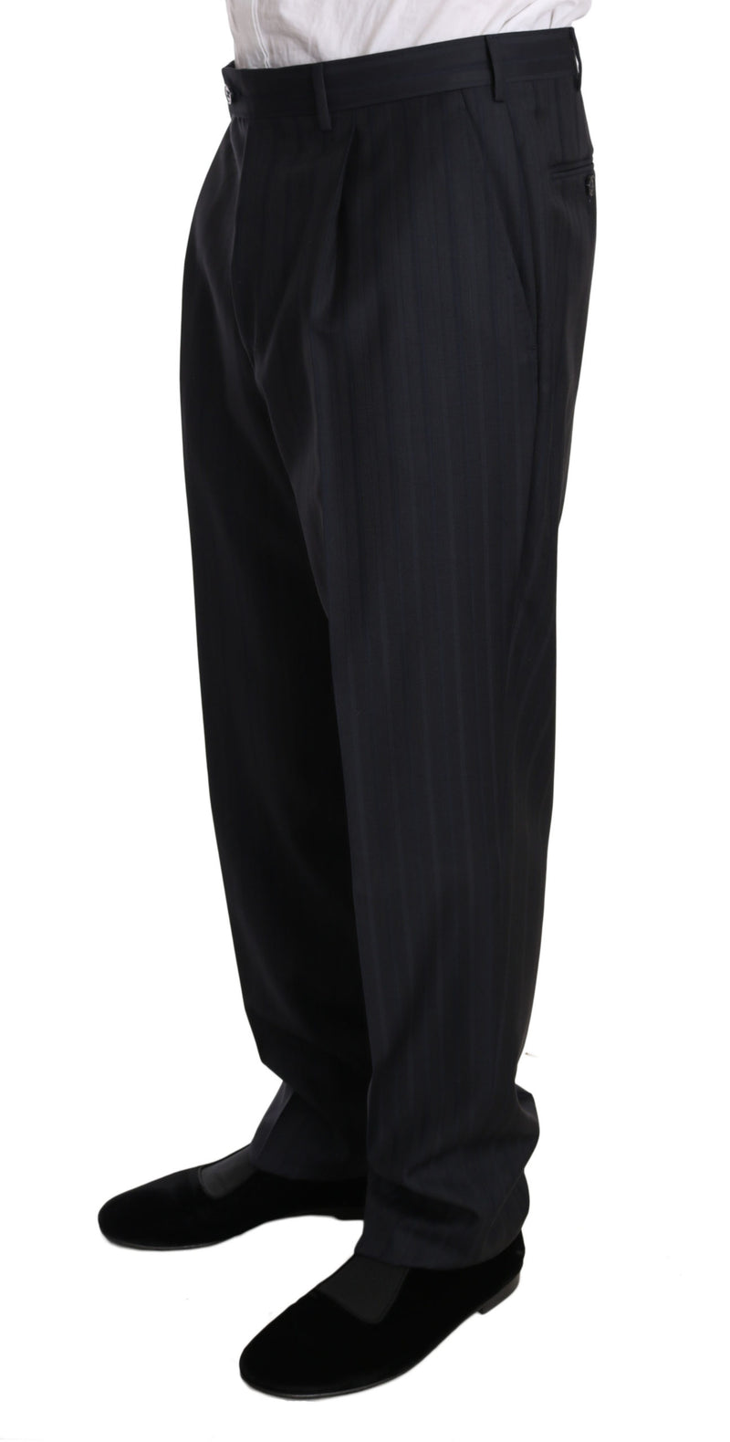 Black Green Striped High Waist Trouser Pants