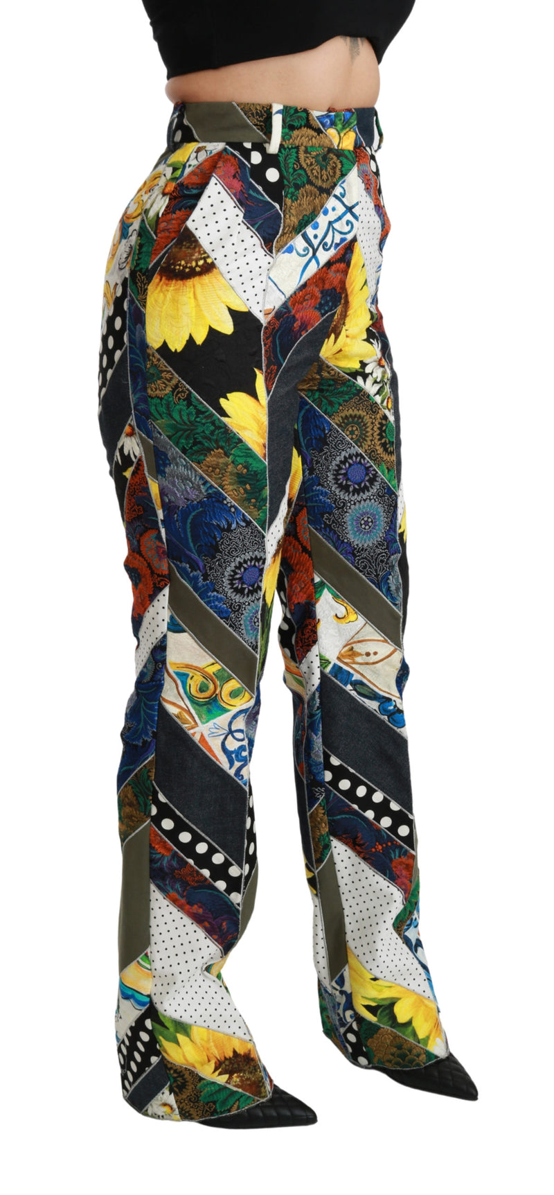 Multicolor Print High Waist Straight Pants