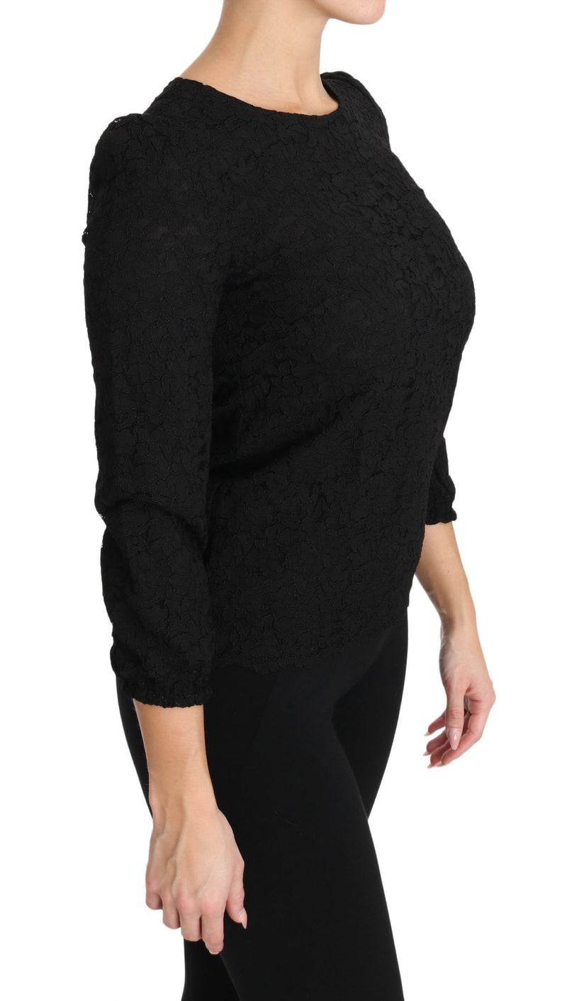 Black Floral Lace Zipper Top Blouse