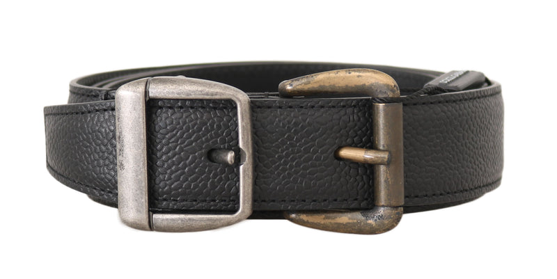 Black Leather Silver Gold Brushed Buckle  Belt