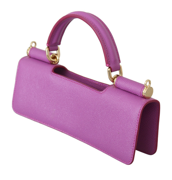 Purple Leather Push Button Accessory Micro Bag