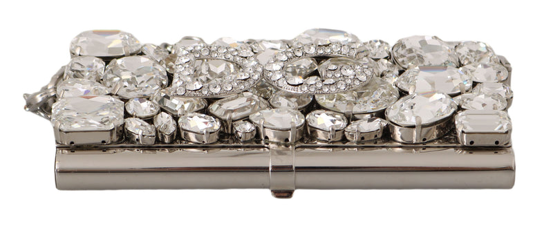 Silver Metal Crystal Clutch Micro Cross Body BOX Bag