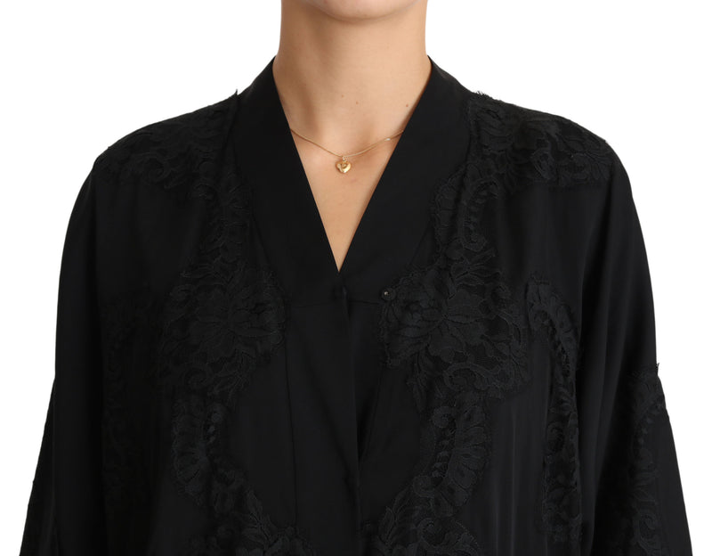 Black Lace Silk Kaftan Abaya Cape Dress