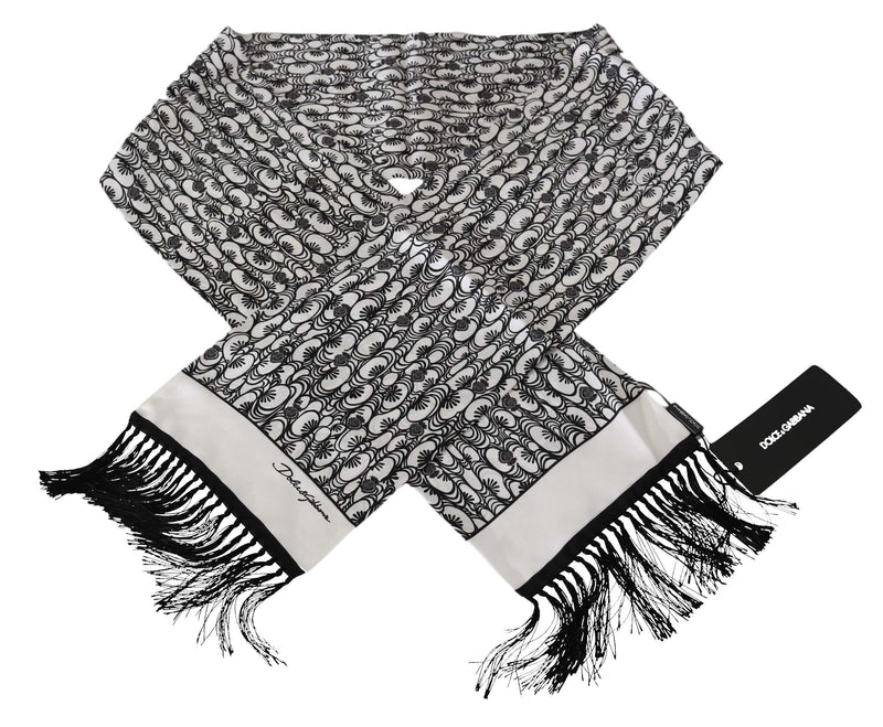 Black White Heart Patterned Scarf