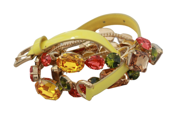 Yellow Gold Multicolor Crystals Waist Belt