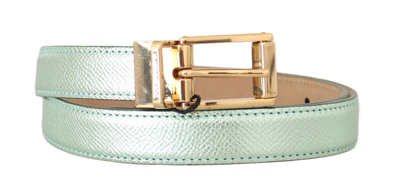 Green Shiny Leather Gold Buckle Belt Light