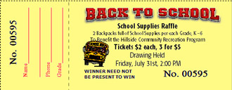 School Raffle Tickets - Louisiana Sign Guy | Signs, Cards, Billboards, and Brochures