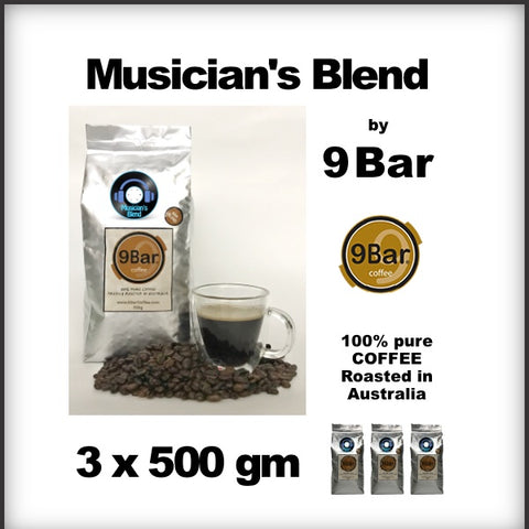 9 Bar Coffee Musician's Bland 3 x 500 g