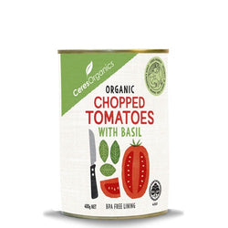 Ceres organics chopped tomatoes with basil 400g tin