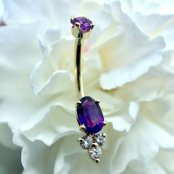 14k Yellow Gold Genuine Amethyst w/diamond accents Navel Curve