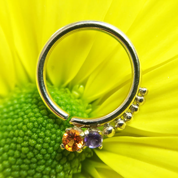 Poppy Topaz, Amethyst, Gold Bead Accents