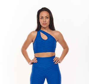 Royal Blue Textured 3 in 1 Sports Bra - Fashion Brazil