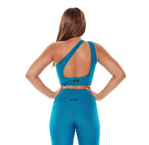 Teal Textured 3 in 1 Sports Bra - Fashion Brazil
