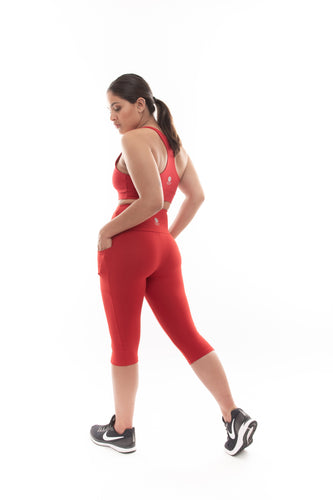Scarlet Red 3/4 Leggings with Pockets