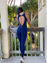 Load image into Gallery viewer, Rio Laser Cut Navy Jumpsuit