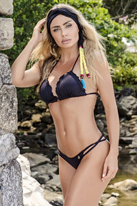 Black FruFru Bikini Set - Fashion Brazil