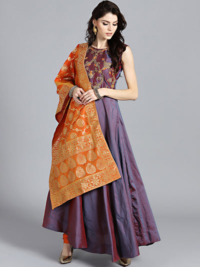 Chhabra 555 Two toned Orange Purple Embroidered Flared Suit with Zari Woven Banarasi dupatta