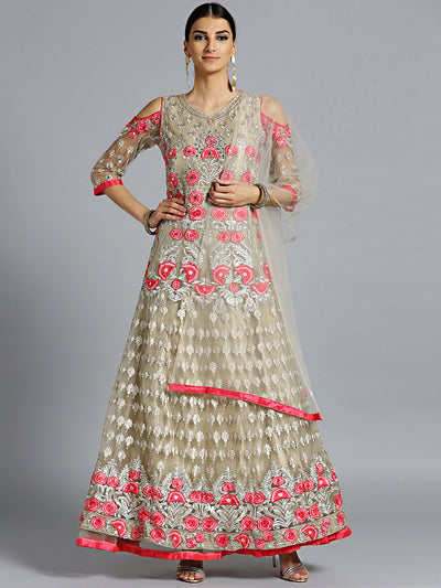 Chhabra 555 Made-to-Measure Beige Pink Floor Length Kurta set with Resham Embroidery and Mirror work