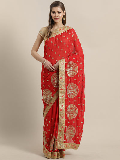 Chhabra 555 French Georgette Embroidered Saree with Red Zari Embroidery border and crystals