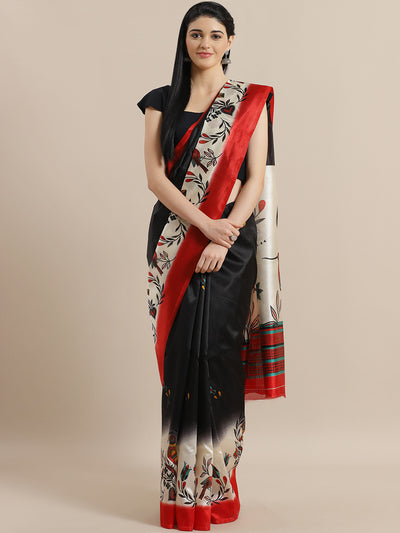 Chhabra 555 Black Bhagalpuri Silk Printed Digital Saree with Floral Design and Contrast Red Blouse