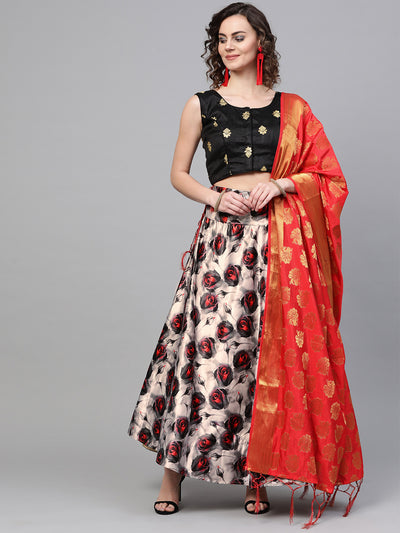 Chhabra 555 Made-to-Measure Red Black Roses Digital Print Lehenga with Banarasi Dupatta