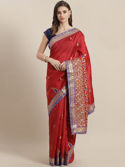 Chhabra 555 Banarasi Cotton Silk saree with Zari weaving Border and Zari and Resham Embroidery