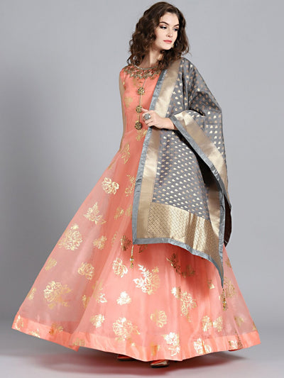 Chhabra 555 Peach & Grey Tissue Foil Print Hand Embroidered Stitched Anarkali Kurta Set With Heavy Banarasi Dupatta