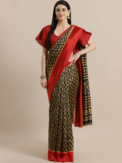 Chhabra 555 Ikat Inspired Black Bhagalpuri Silk Digital Printed Saree with Colorblocking Red Border