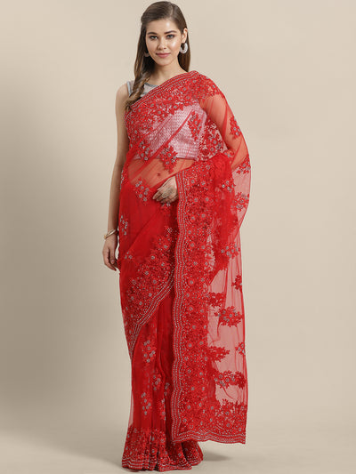 Chhabra 555 Net Embroidered Cocktail Saree with Heavy resham and crystal, pearl embellishments