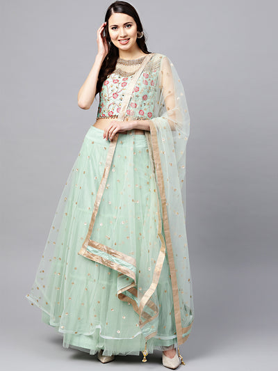 Chhabra 555 Made-to-Measure Sea green Crop Top Lehenga Set with Zari Resham Embroidery and Layered Skirt