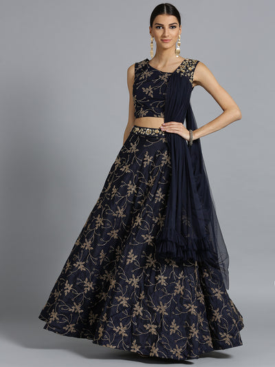 Chhabra 555 Navy Blue Silk Crop top Made-to-measure Lehenga With attached Dupatta and belt