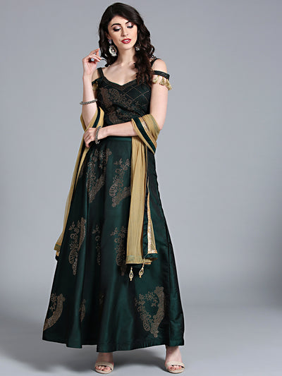 Chhabra 555 Green Silk Made-to-Measure Lehenga with Crystal Embellishment & sphagetti strap blouse