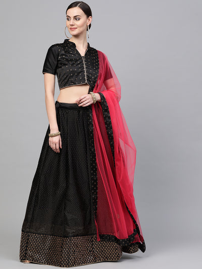 Chhabra 555 Black Semi-stitched Silk Lehenga set with Heavy Intricate Gold Crystal embellishments