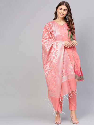 Chhabra 555 Pink Banarasi Handloom Dress Material with Zari Resham Weaving and Tassled dupatta
