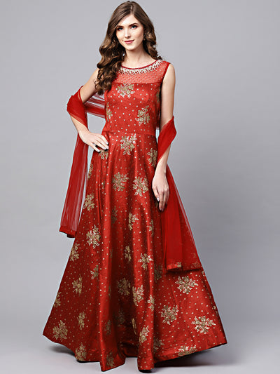 Chhabra 555 Made to Measure Maroon Embellished Anarkali Kurta Set with Pearl Embellishments and Foil Print