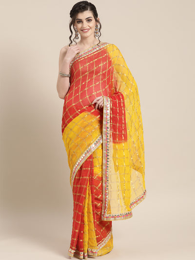Chhabra 555 Chiffon Checked Gharchola Saree with ombre bandhani dying and Gota Patti Border