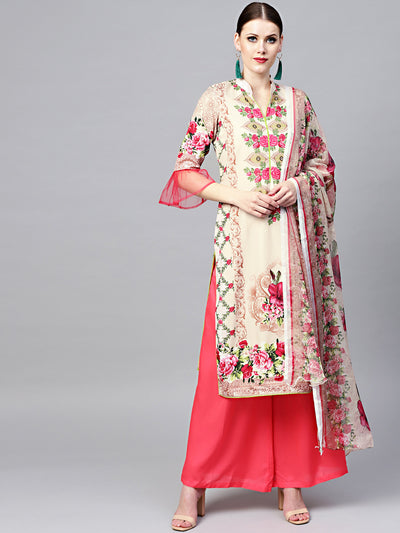 Chhabra 555 Beige Floral Printed Crepe Made-to-Measure Kurta Set with Chiffon Dupatta