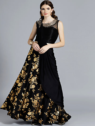 Chhabra 555 Contemporary Floral Black Lehenga with gold Foil Print with contrast Kundan and Zircon Hand Embroidered Blouse and pre-stitched pleated dupatta