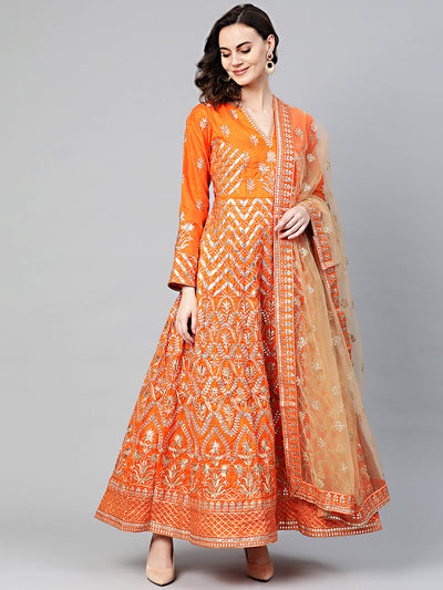 Chhabra 555 Made to Measure Mughal inspired Anarkali Kurta Set with intricate zari and Gota Patti Embroidery