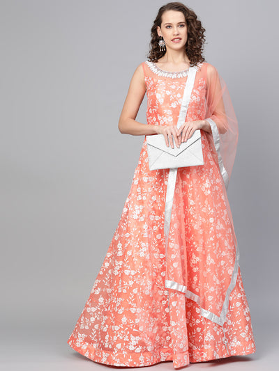 Chhabra 555 Peach Cocktail Gown with Pearl Crystal embroidered neckline and floral foil print and dupatta