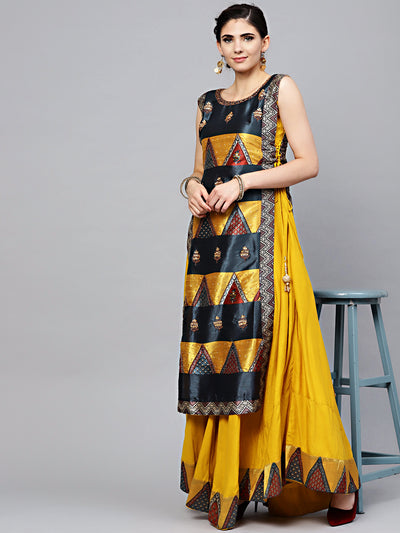 Chhabra 555 Mustard Cotton Layered Kurta Gown with Beads and stone Embellishments and tribal pattern