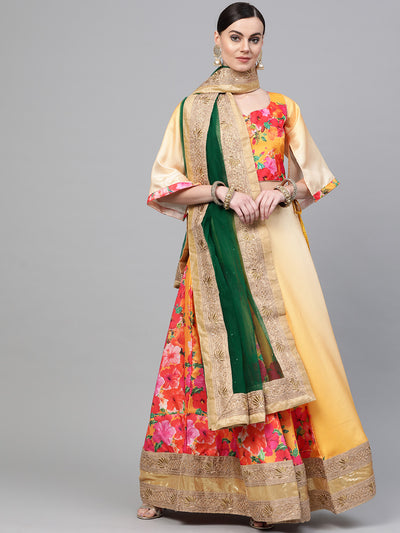 Chhabra 555 Yellow Satin Silk Semi-stitched Digital Floral Print Lehenga Set with Heavy Zari Border